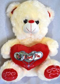 12″ Teddy Bear – Cream/Red